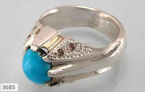 عکس انگشتر نقره الماس و فیروزه نیشابوری اصیل مردانه