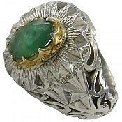 انگشتر نقره زمرد زامبیا سلطنتی مردانه