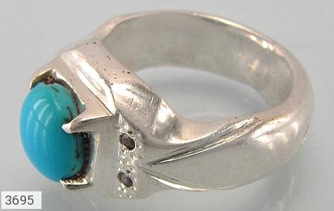 عکس انگشتر الماس و فیروزه نیشابوری پررنگ