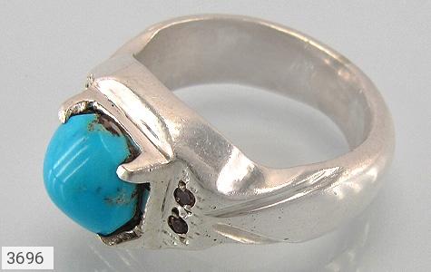 عکس انگشتر نقره فیروزه و الماس نیشابوری خوش رنگ