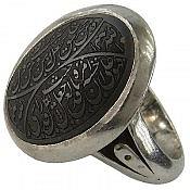 انگشتر نقره حدید صینی حکاکی و من یتق الله مردانه