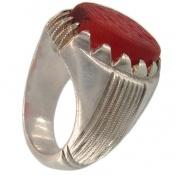 انگشتر نقره عقیق یمنی قرمز کهنه و فاخر مردانه