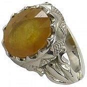 انگشتر نقره یاقوت زرد شاهانه مردانه دست ساز