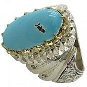 انگشتر نقره فیروزه نیشابوری برلیان اصل سلطنتی مردانه