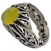 انگشتر نقره عقیق زرد دور چنگ مردانه
