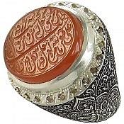 انگشتر نقره عقیق یمن و برلیان اصل حکاکی و من یتق الله مردانه