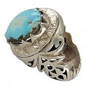 انگشتر نقره فیروزه نیشابوری خوش طبع و سلطنتی مردانه