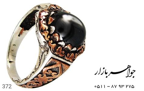 انگشتر نقره ترک طرح سیاه قلم مردانه - 372