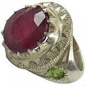 انگشتر نقره یاقوت زبرجد توپاز طرح شاهانه مردانه دست ساز