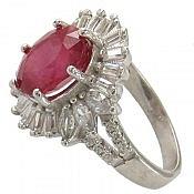 انگشتر نقره یاقوت آفریقایی سرخ زنانه