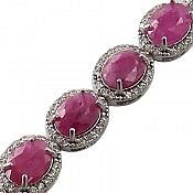 دستبند نقره یاقوت طرح اشرافی زنانه