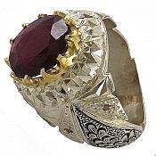 انگشتر نقره یاقوت آفریقایی شاهانه مردانه