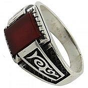 انگشتر نقره عقیق سرخ طرح اسپرت مردانه