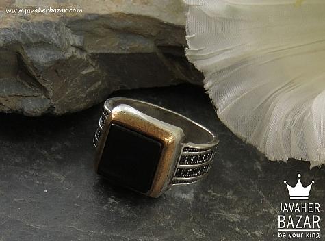 انگشتر نقره عقیق طرح اسپرت مردانه - 37559