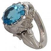 انگشتر نقره توپاز سوئیس طرح شاهانه مردانه