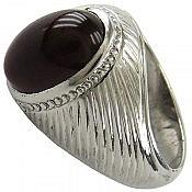 انگشتر نقره عقیق طرح سلطنتی مردانه