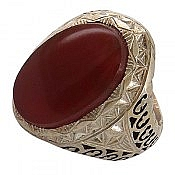 انگشتر نقره عقیق یمن فاخر و شاهانه مردانه
