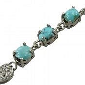 دستبند نقره فیروزه نیشابوری سه نگین اشرافی زنانه