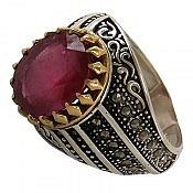 انگشتر نقره یاقوت آفریقایی سرخ شاهانه مردانه