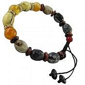 دستبند عقیق و دلربا و کهربا پودری طرح شادی زنانه