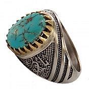 انگشتر نقره فیروزه نیشابوری رکاب یا هو مردانه