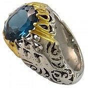 انگشتر نقره توپاز لندن شاهانه مردانه