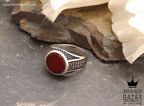 انگشتر نقره عقیق شاهانه مردانه - 38054