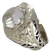 انگشتر نقره در نجف شفاف و اشرافی مردانه دست ساز