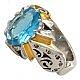 انگشتر نقره توپاز و برلیان اصل شاهانه مردانه