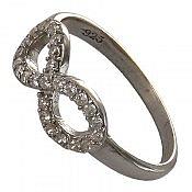 انگشتر نقره سولیتر طرح بی نهایت زنانه