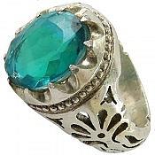 انگشتر نقره توپاز فاخر و شاهانه مردانه