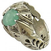 انگشتر نقره زمرد شاهانه مردانه