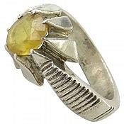انگشتر نقره یاقوت زرد طرح سلطنتی مردانه