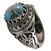 انگشتر نقره فیروزه نیشابوری خوش طبع و اشرافی مردانه