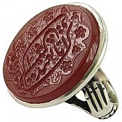 انگشتر نقره عقیق حکاکی ایاک نعبد و ایاک نستعین مردانه