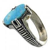 انگشتر نقره فیروزه نیشابوری چهار چنگ مردانه