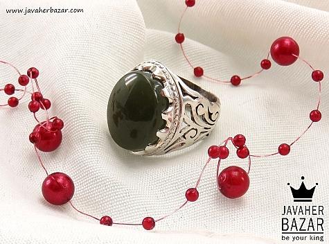 انگشتر نقره یشم یمن شاهانه مردانه - 38476