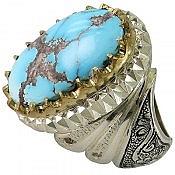 انگشتر نقره فیروزه نیشابوری و برلیان اصل فاخر و شاهانه مردانه دست ساز