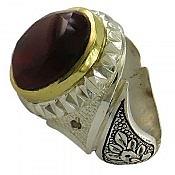 انگشتر نقره عقیق و برلیان اصل شاهانه مردانه