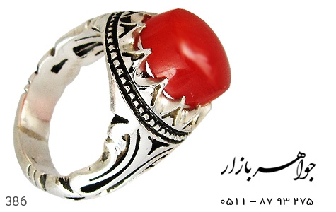 انگشتر نقره عقیق مرغوب مردانه دست ساز - 386