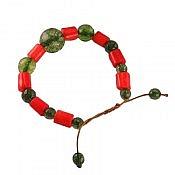 دستبند جید و مرجان خوش رنگ زنانه