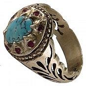 انگشتر نقره فیروزه نیشابوری یاقوت شاهانه مردانه