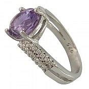 انگشتر نقره آمتیست خوش رنگ زنانه