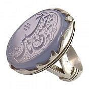 انگشتر نقره عقیق کبود حکاکی یا حسین حبیبی مردانه