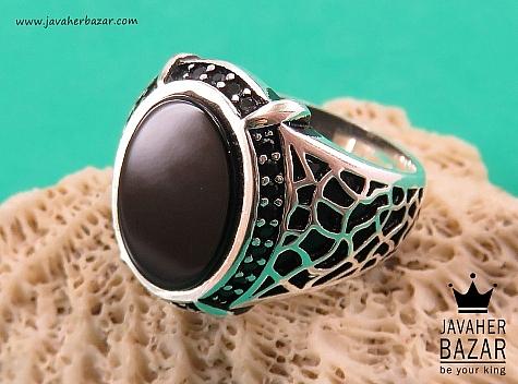 انگشتر نقره عقیق سیاه مردانه - 38645