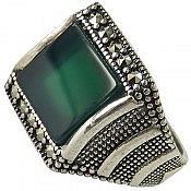 انگشتر نقره عقیق سبز درشت مردانه
