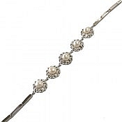 دستبند نقره مروارید طرح پرنسسی زنانه