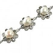 دستبند نقره مروارید فاخر زنانه
