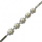 دستبند نقره مروارید پرنسسی زنانه