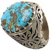 انگشتر نقره فیروزه نیشابوری خوش طبع و شاهانه مردانه